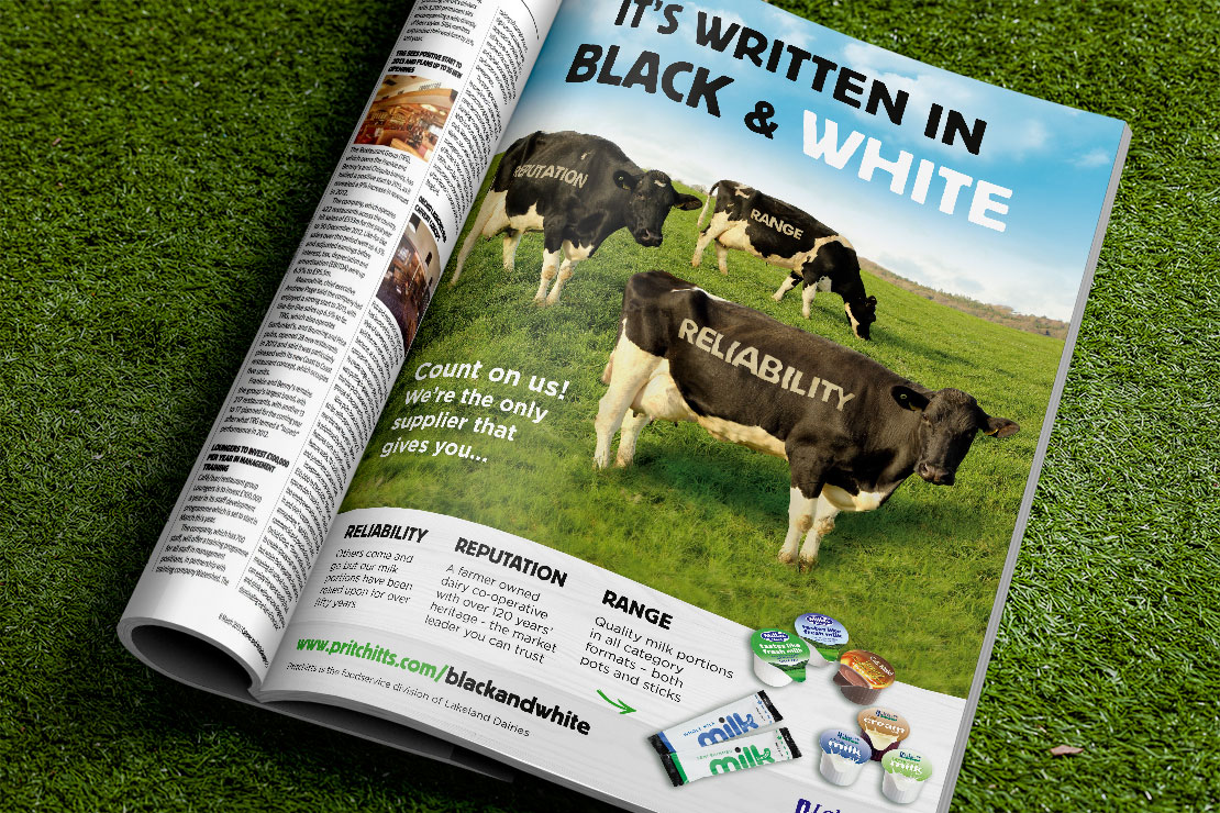 Pritchitts Black & White Advert