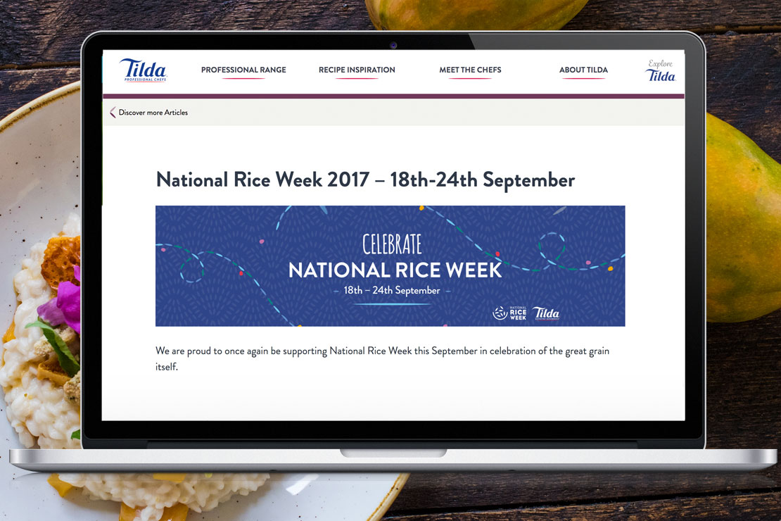 Food Service Marketing Agency - Tilda National Rice Week - Jellybean Creative Solutions